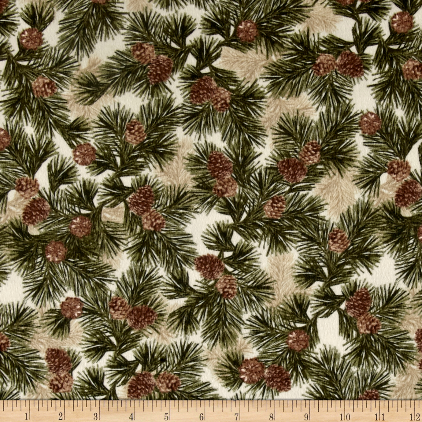 Kanvas Into the Woods Flannel Northern Pines Cream/Green Fabric by Benartex in USA