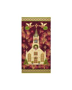 Silent Night Cathedral 24 In. Panel Burgundy