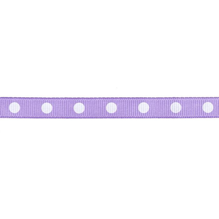 "3/8"" Grosgrain Ribbon Dot White/Lavender"