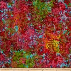 Indian Batik Swirl Teal/Olive/Rose