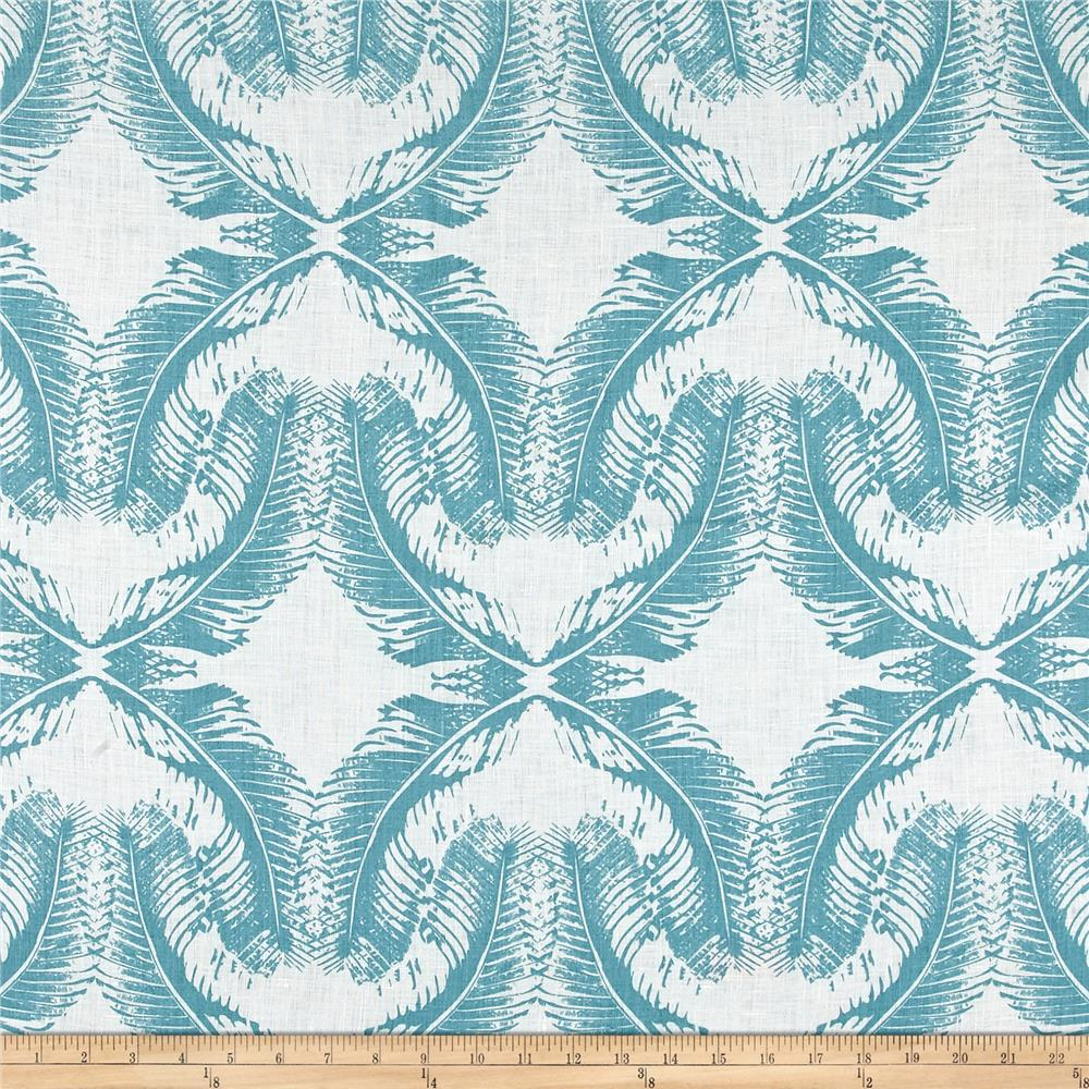 100% European Linen Shirting Feather Faded Turquoise