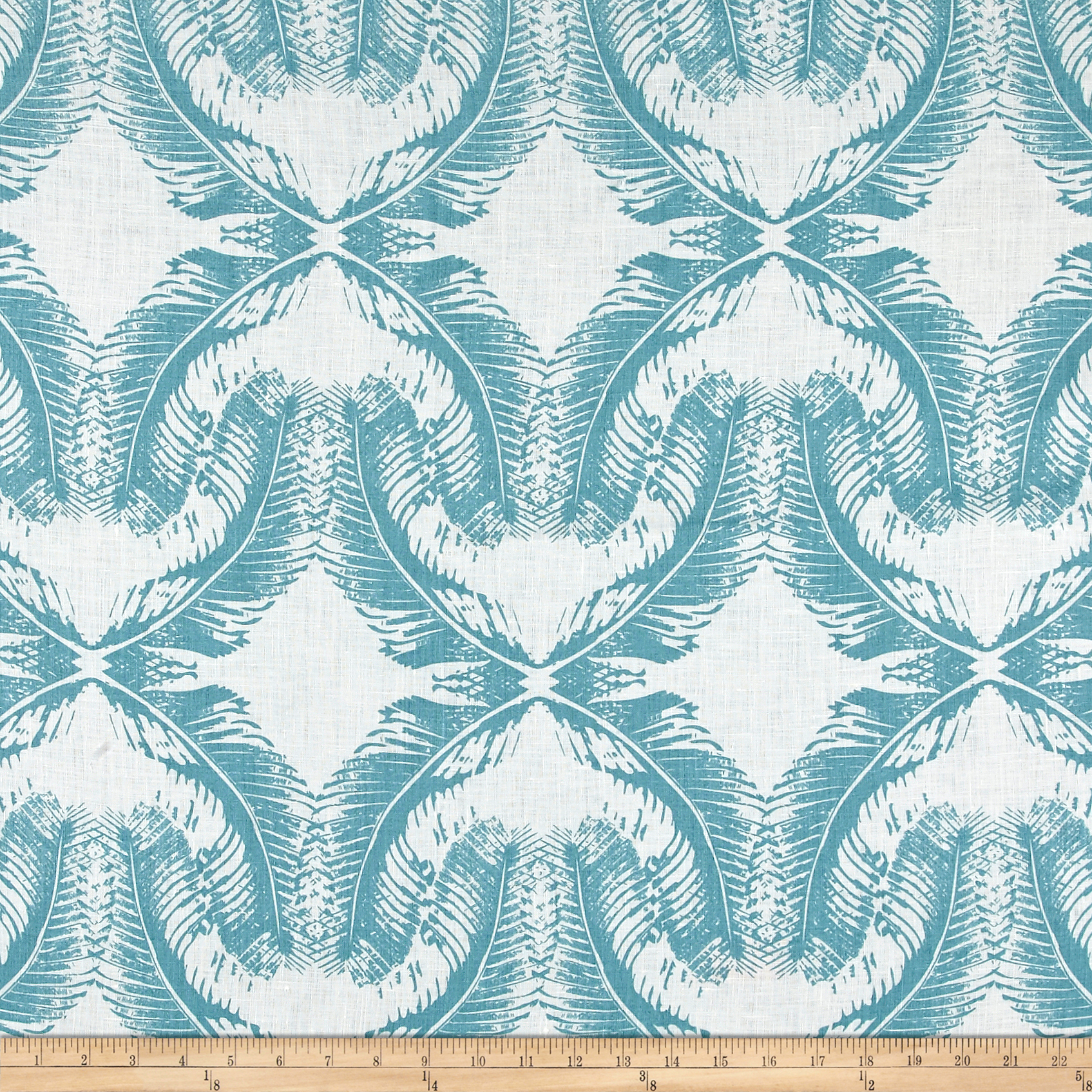100% European Linen Shirting Feather Faded Turquoise Fabric
