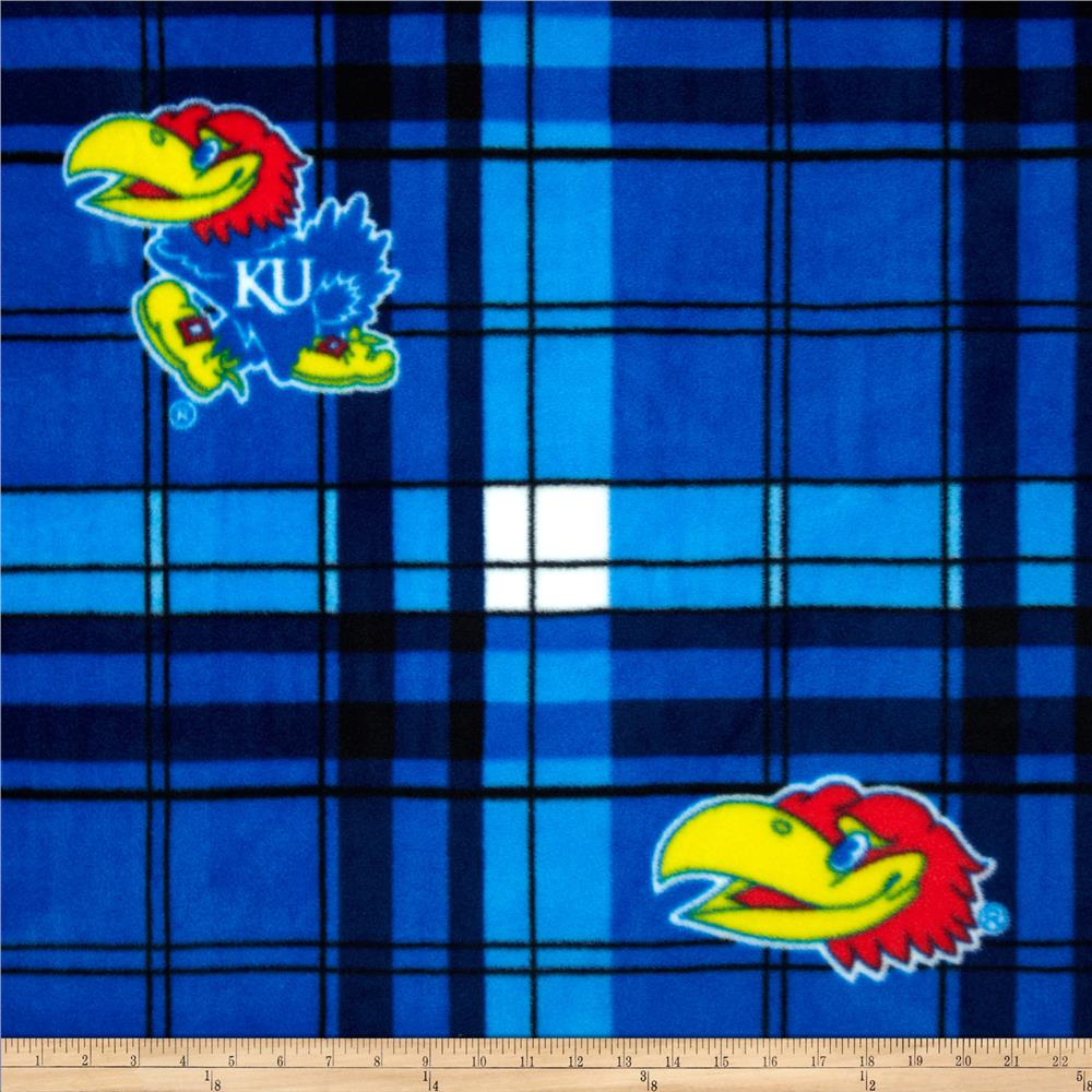 Kansas University Fleece Plaid Blue