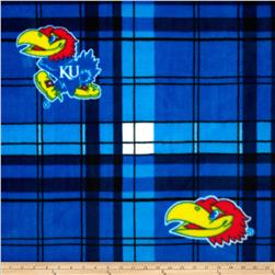 Kansas University Fleece Plaid Blue Fabric