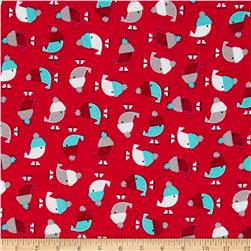 Kaufman Jingle Flannel Birdies Crimson