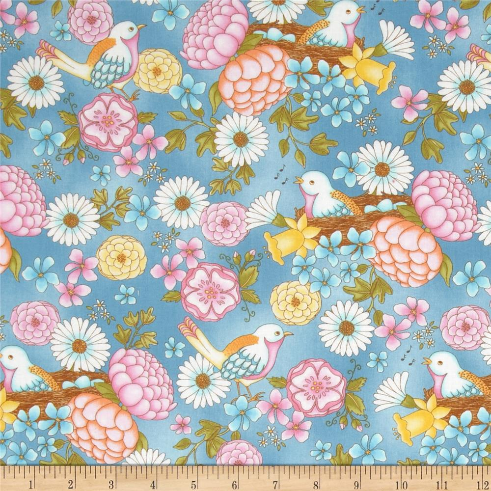 Peaceful Pastimes Large Floral w/ Bird Blue