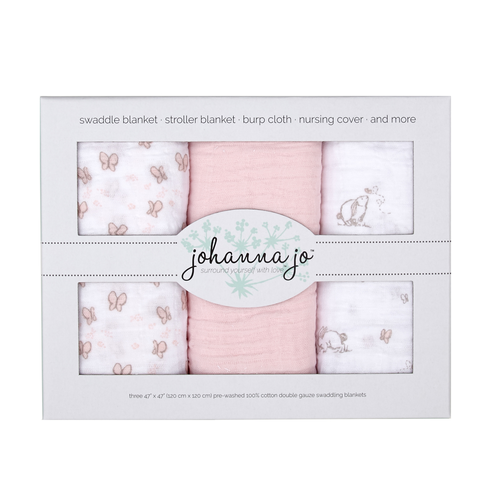 Embrace Double Gauze Swaddle 3 Pack Bunny by Shannon in USA