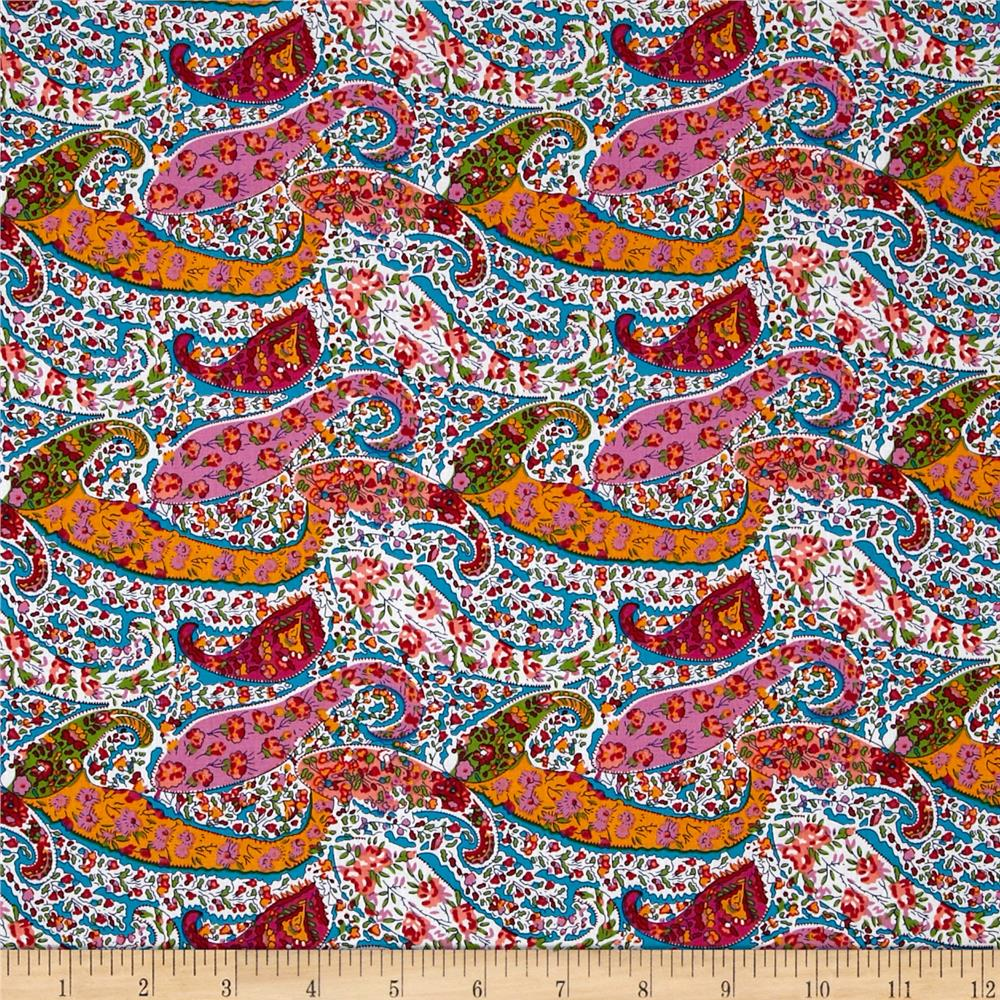 Morocco Blues Stretch Poplin Paisley Turquoise/Pink/Orange