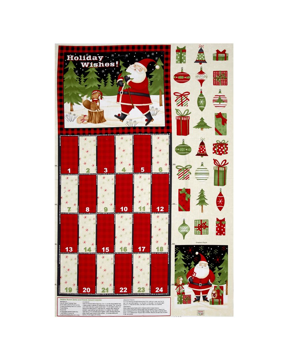 Debbie Mum Santa And Friends 30 In. Advent Calendar Panel Multi Fabric By The Yard
