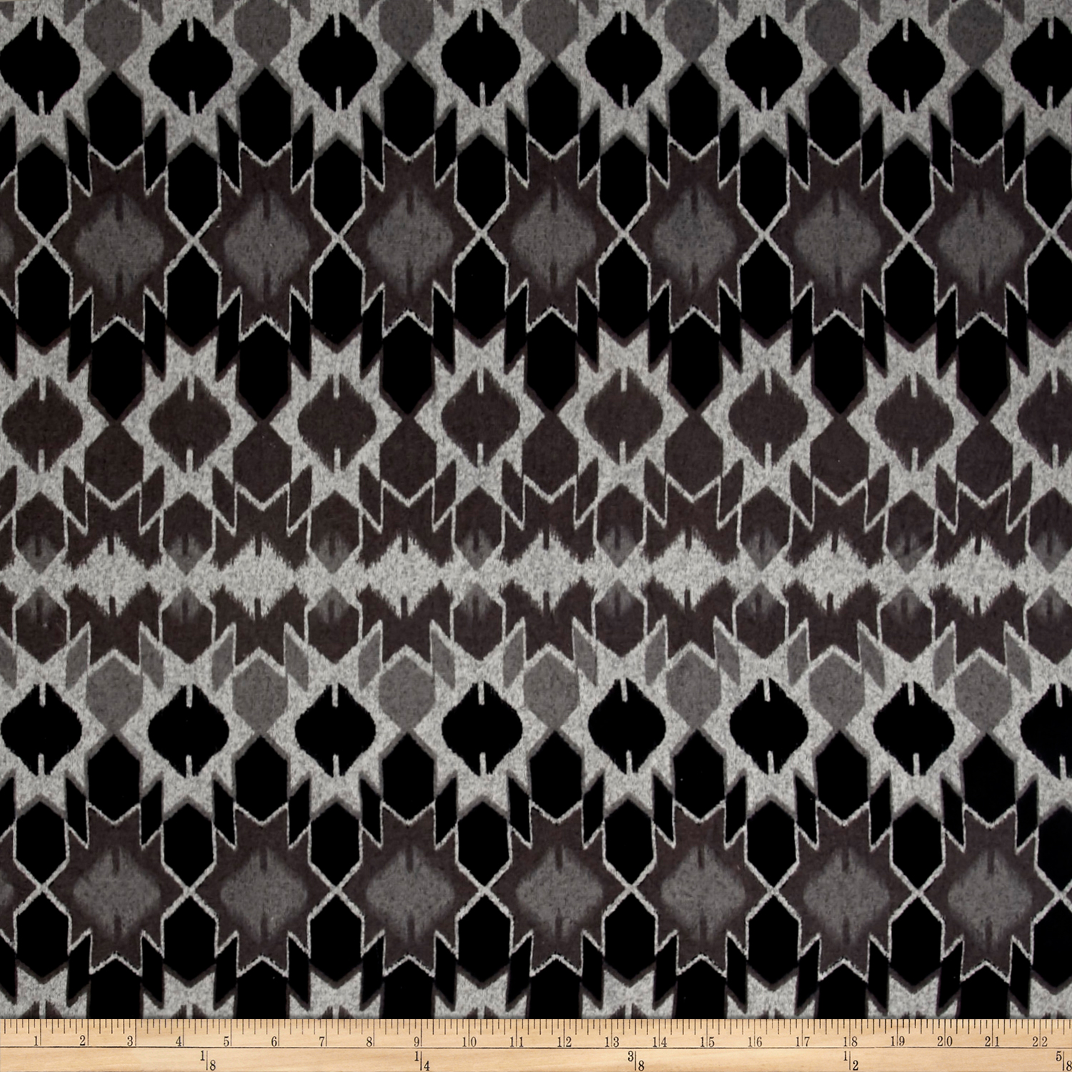 Brushed Hatchi Sweater Knit Abstract Ikat Gray/Black Fabric 0492682