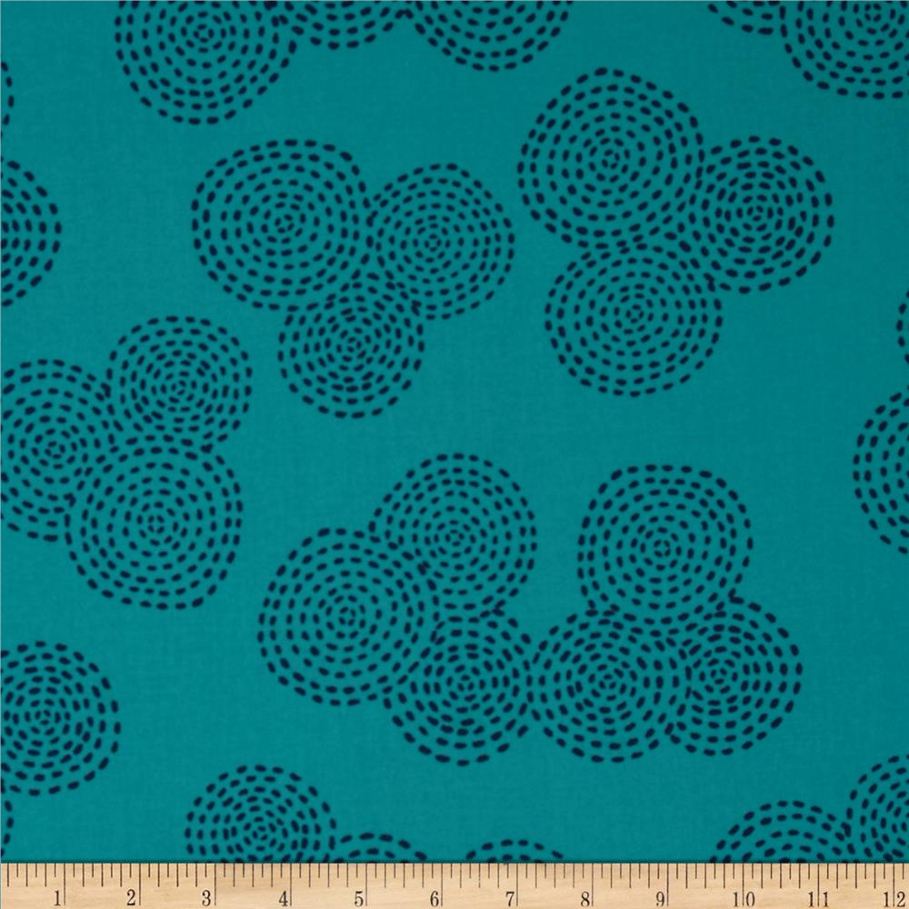 Michael Miller Stitch Circle Turquoise