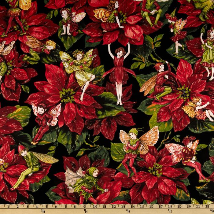 Christmas Flowers.Michael Miller Christmas Flower Fairies Red