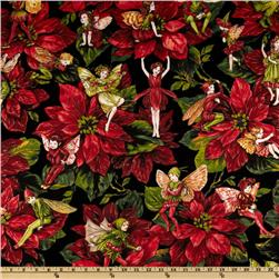 Michael Miller Christmas Flower Fairies Red Fabric