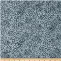 "Leafy Scroll 108"" Wide Back Gray"
