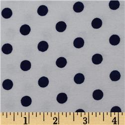 Dreamland Flannel Happy Dots White/Navy Skies Fabric