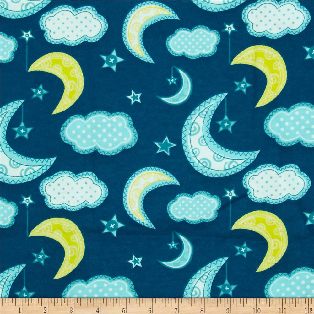 Flannel stars moon dark teal discount designer fabric for Moon and stars fabric