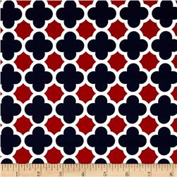 Riley Blake Quatrefoil Medium Red/Navy