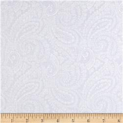 108'' Quilt Backing Paisley White on White Fabric