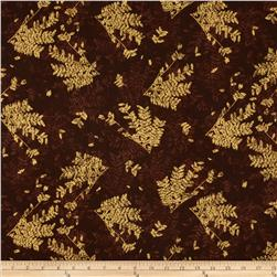 Tossed Ferns Metallic Brown