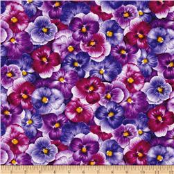 Timeless Treasures Viola Packed Pansies Purple
