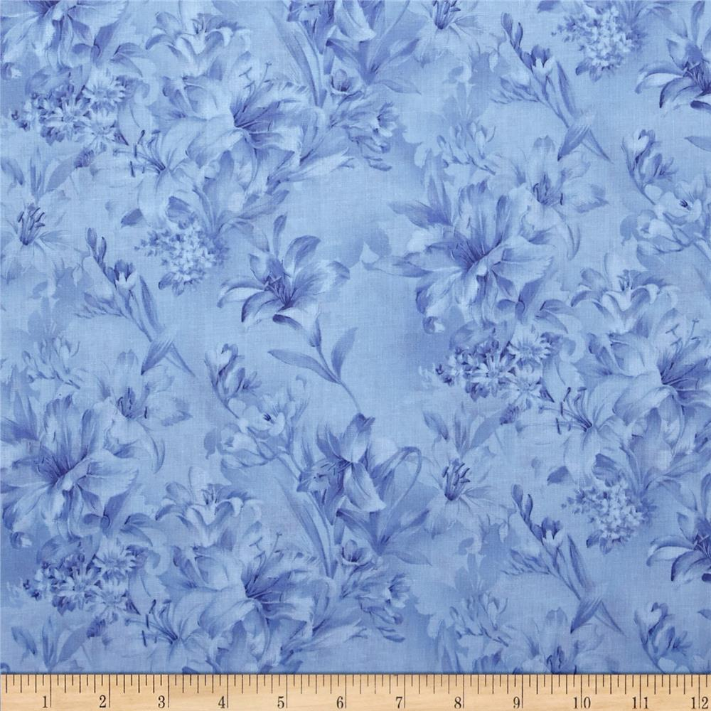 "118"" Wide Day Lily Quilt Backing Floral Blue"