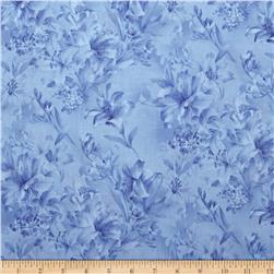 118'' Wide Day Lily Quilt Backing Floral Blue
