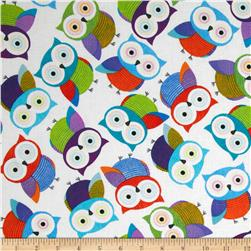 Foxy Owl Owls White Fabric