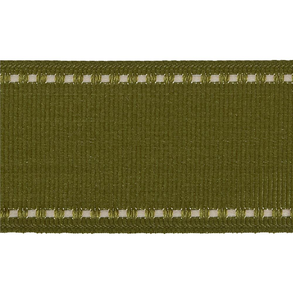 "1 1/2"" Grosgrain Stitched Edge Ribbon Olive/Ivory"