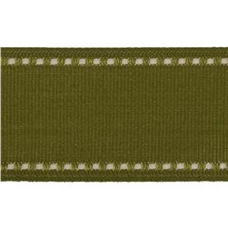 1 1/2'' Grosgrain Stitched Edge Ribbon Olive/Ivory