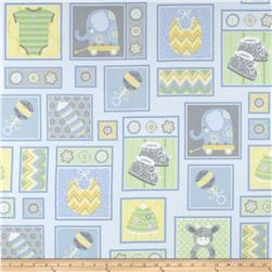 Precious Baby Flannel Patchwork Blue