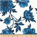 Timeless Treasures True Blue Large Floral White