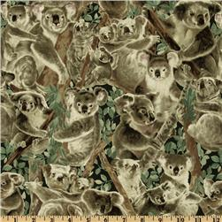 Living Wonders Koalas Black/Beige Fabric