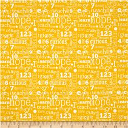 Riley Blake Pieces of Hope 2 Words Yellow