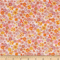 Kaufman London Calling Lawn Sketch Floral Peach