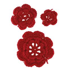 Riley Blake Sew Together Crochet Flowers 3pk Red