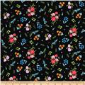 Michael Miller Garden Party Dainty Blooms Black