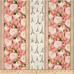 Timeless Treasures Bonjour Mon Amour Paris Border Stripe Pink