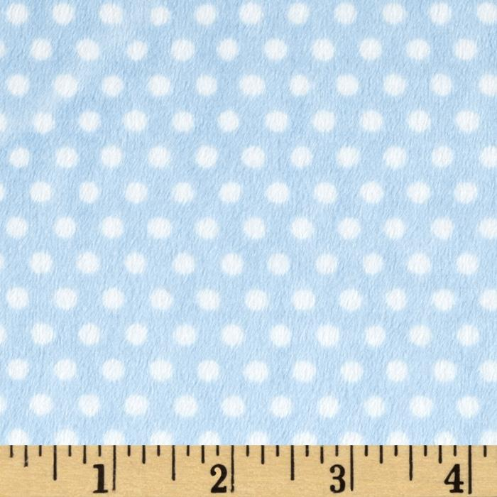 Shannon Minky Cuddle Classic Swiss Dot Baby Blue/White