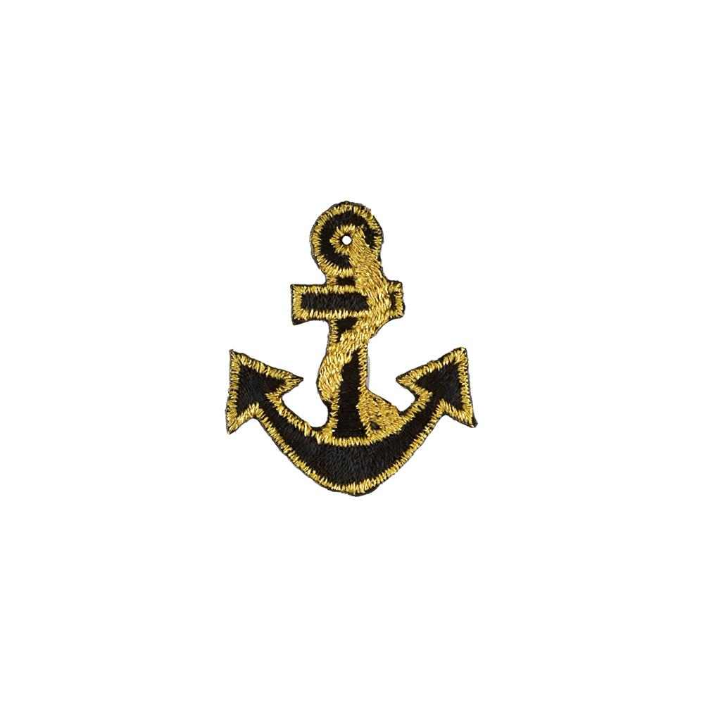 Anchor with Tiny Border Applique Black/Gold