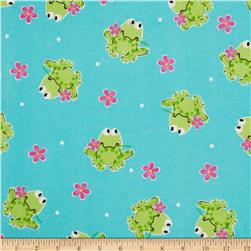 Flannel Tossed Frogs & Flowers Teal