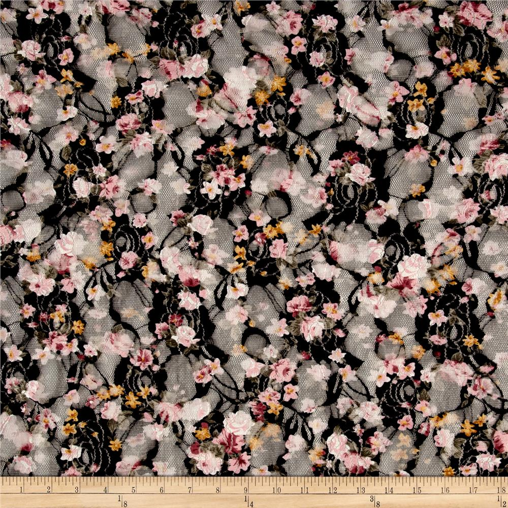 Printed Stretch Lace Floral Black/White/Green/Pink/Yellow Fabric