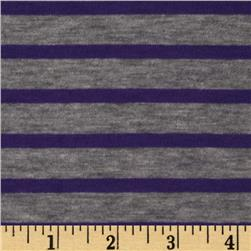 Designer Yarn Dyed Stripe Jersey Knit Purple/Heather Grey