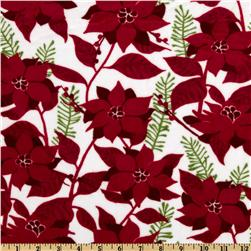 Kaufman Minky Cuddle Poinsettia White/Red