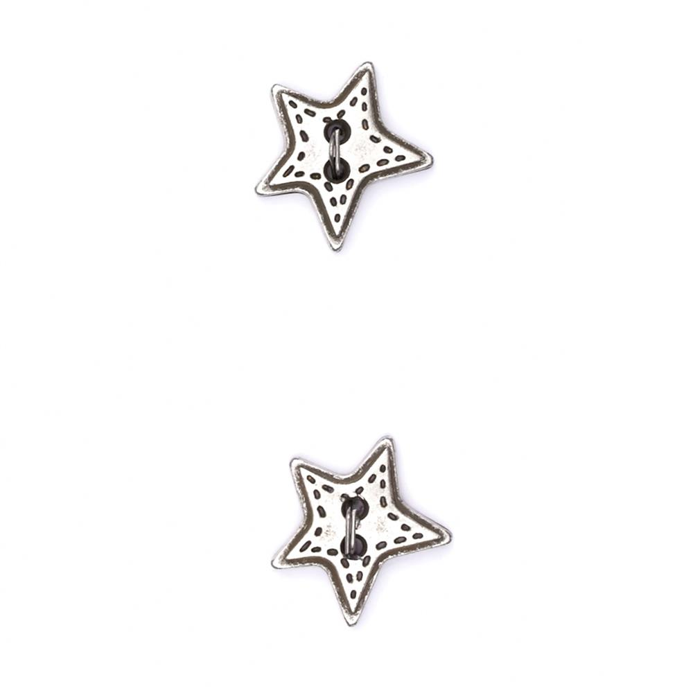 "Metalized Button 5/8"" Mini Star Silver"