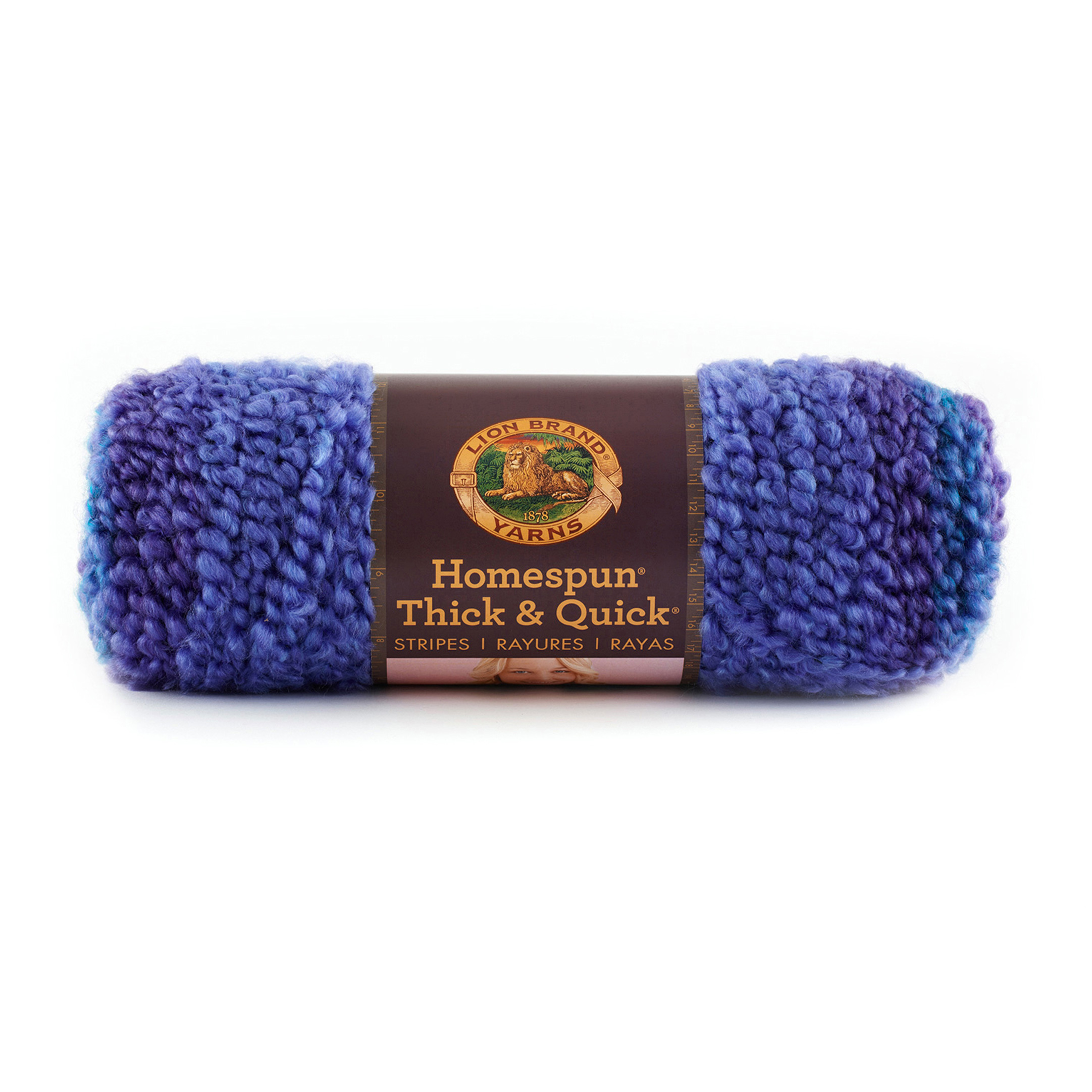 Lion Brand Homespun Thick & Quick Stripes Yarn 208 Violet Stripes by Lion in USA