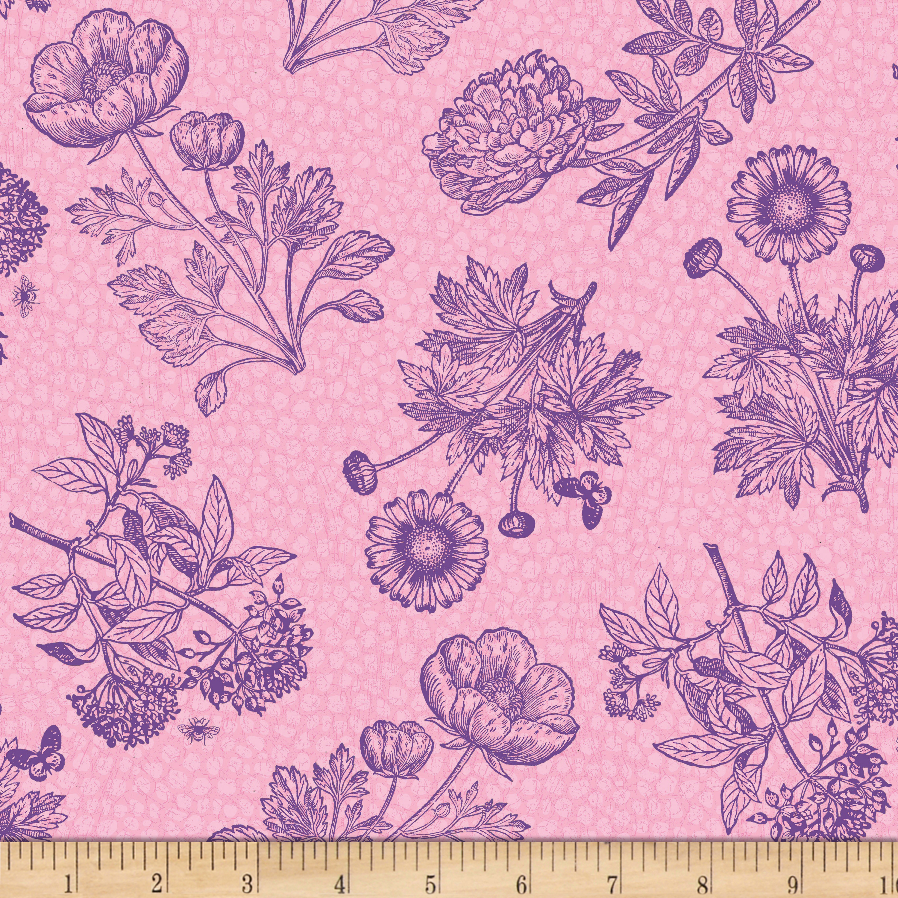Wilmington Flower Show Toile Pink Fabric