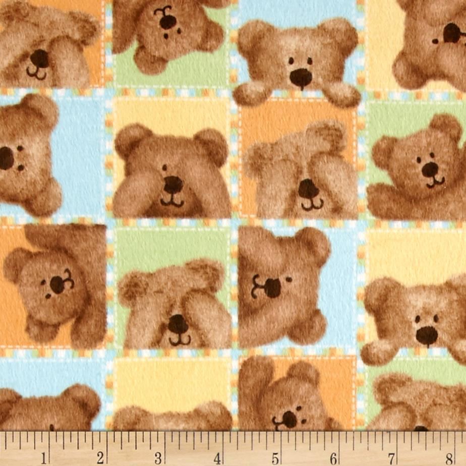 Peek-A-Boo Flannel Bears Small Blocks Blue
