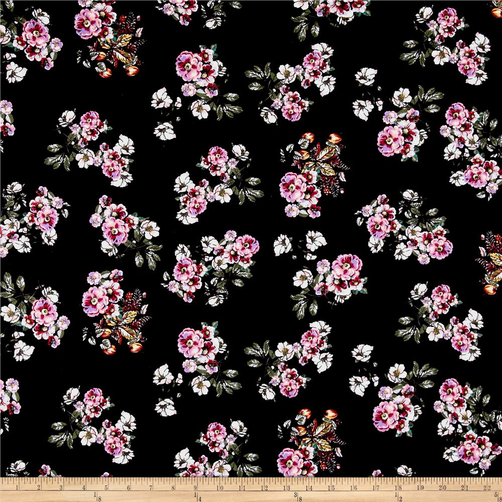 Double Brushed Poly Spandex Jersey Knit Floral Bouquet Black/Purple Fabric