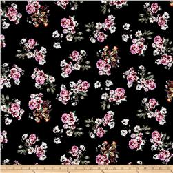 Double Brushed Poly Spandex Jersey Knit Floral Bouquet Black/Purple