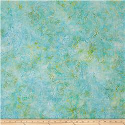 Anthology Batik Leaves Turquoise/Yellow